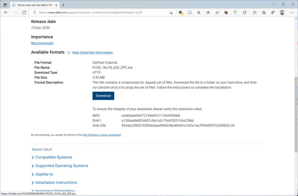 Descargando el firmware 6D5N de la unidad óptica LiteOn (PLDS) DU-8A5LH desde la página de Dell (2).