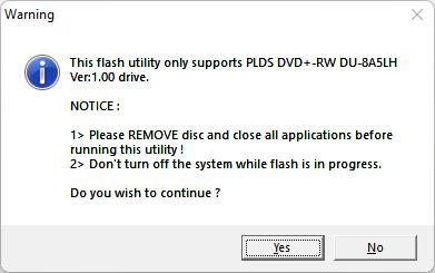 Mensaje de advertencia de herramienta del firmware 6D5N de la unidad óptica LiteOn (PLDS) DU-8A5LH.