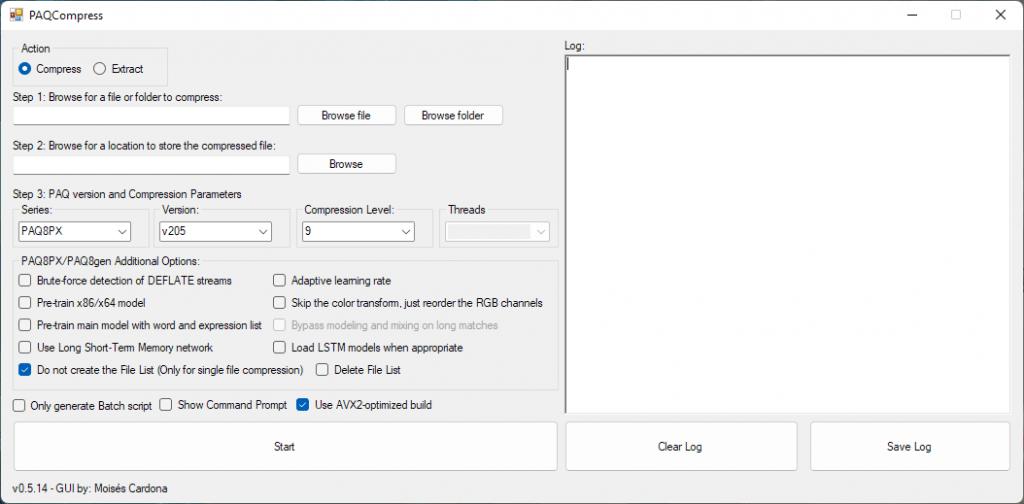 Captura de pantalla de PAQCompress v0.5.14