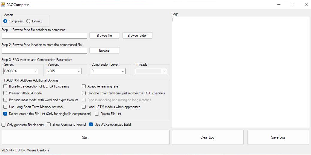 Screenshot of PAQCompress v0.5.14