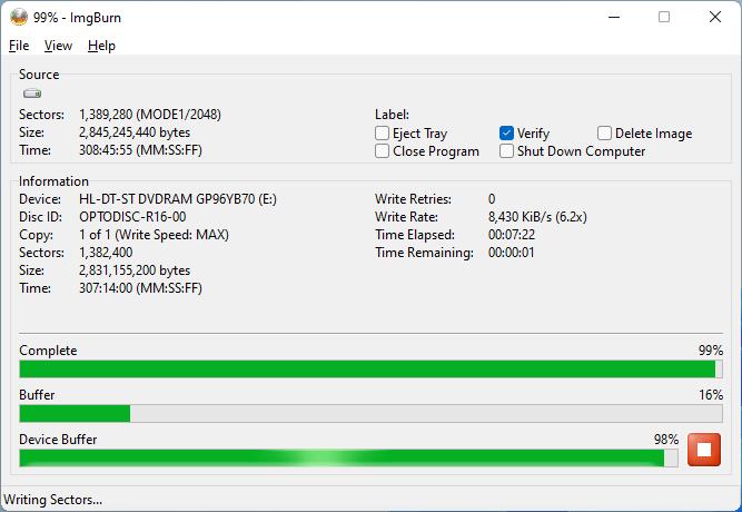 Burning the PlexDisc DVD+R (Media Code: OPTODISC-R16-00) in the LG GP96YB70 External Slim Optical Drive using ImgBurn - Burning Stage - 99% Complete
