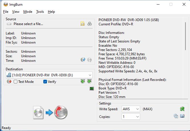 Burning the PlexDisc DVD+R (Media Code: OPTODISC-R16-00) in the Pioneer DVR-XD09 Optical Drive using ImgBurn - Disc Information