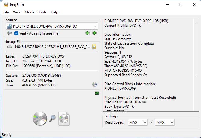 Burning the PlexDisc DVD+R (Media Code: OPTODISC-R16-00) in the Pioneer DVR-XD09 Optical Drive using ImgBurn - Verification Main Window