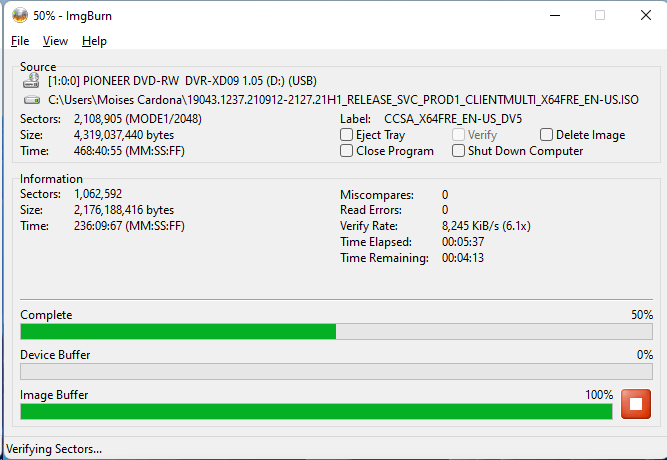 Burning the PlexDisc DVD+R (Media Code: OPTODISC-R16-00) in the Pioneer DVR-XD09 Optical Drive using ImgBurn - Verification Stage - 50% Complete