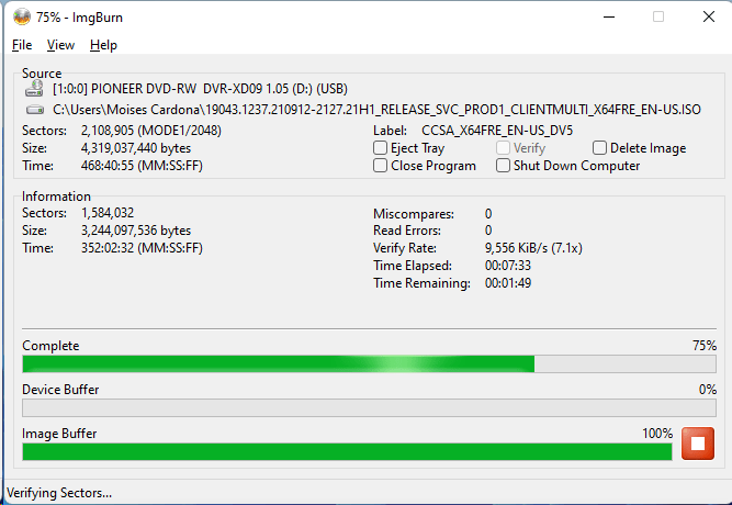 Burning the PlexDisc DVD+R (Media Code: OPTODISC-R16-00) in the Pioneer DVR-XD09 Optical Drive using ImgBurn - Verification Stage - 75% Complete