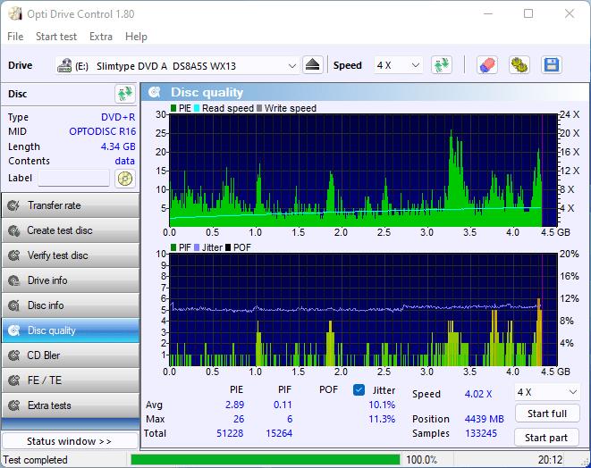 PlexDisc DVD+R on LiteOn DU-8A5LH 8x 16