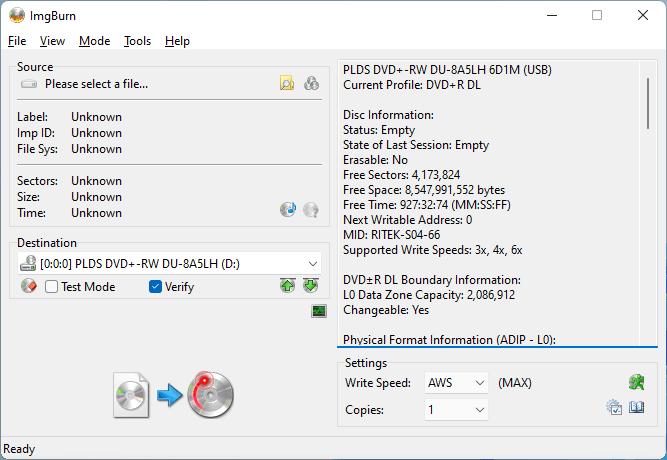 Quemando un disco DVD+R DL de SmartBuy (Código de media: RITEK-S04-66) En una unidad LiteOn DU-8A5LH usando ImgBurn.