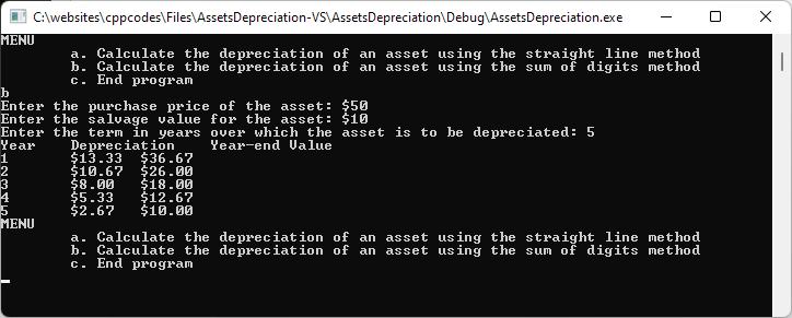 Asset Depreciation using the Sum of Digits Method.