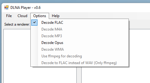 DLNA Player options to choose which formats are available to be decoded.