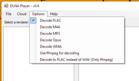 DLNA Player options to choose which formats to decode.