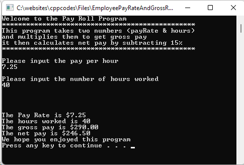 Program that calculates the Gross and Net Pay of an employee.