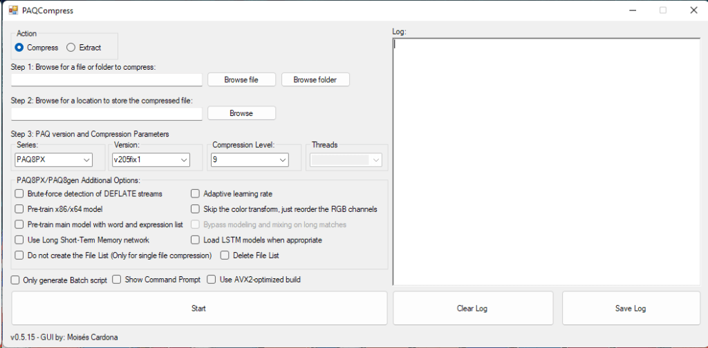 Captura de pantalla de PAQCompress v0.5.15