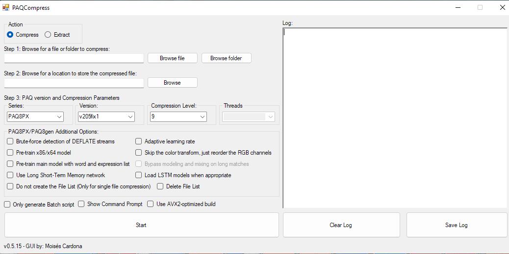 Screenshot of PAQCompress v0.5.15.