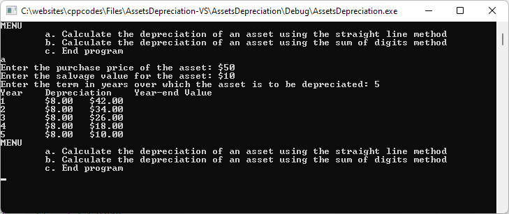 Asset Depreciation using the Straight Lime Method