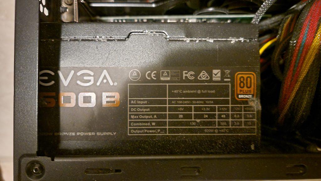 Bad EVGA 600B (600W) Power Supply.