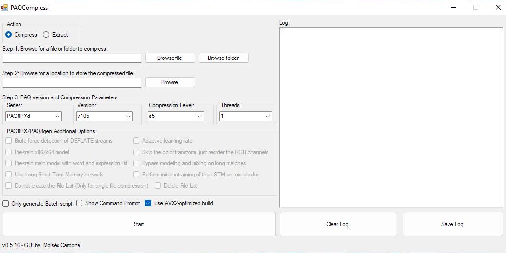 PAQCompress v0.5.16 Screenshot.