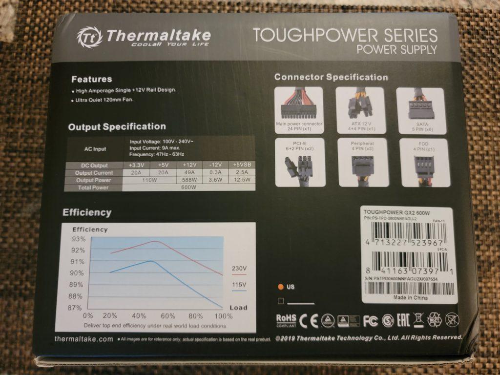 Thermaltake Toughpower GX2 600W PSU Box - Back