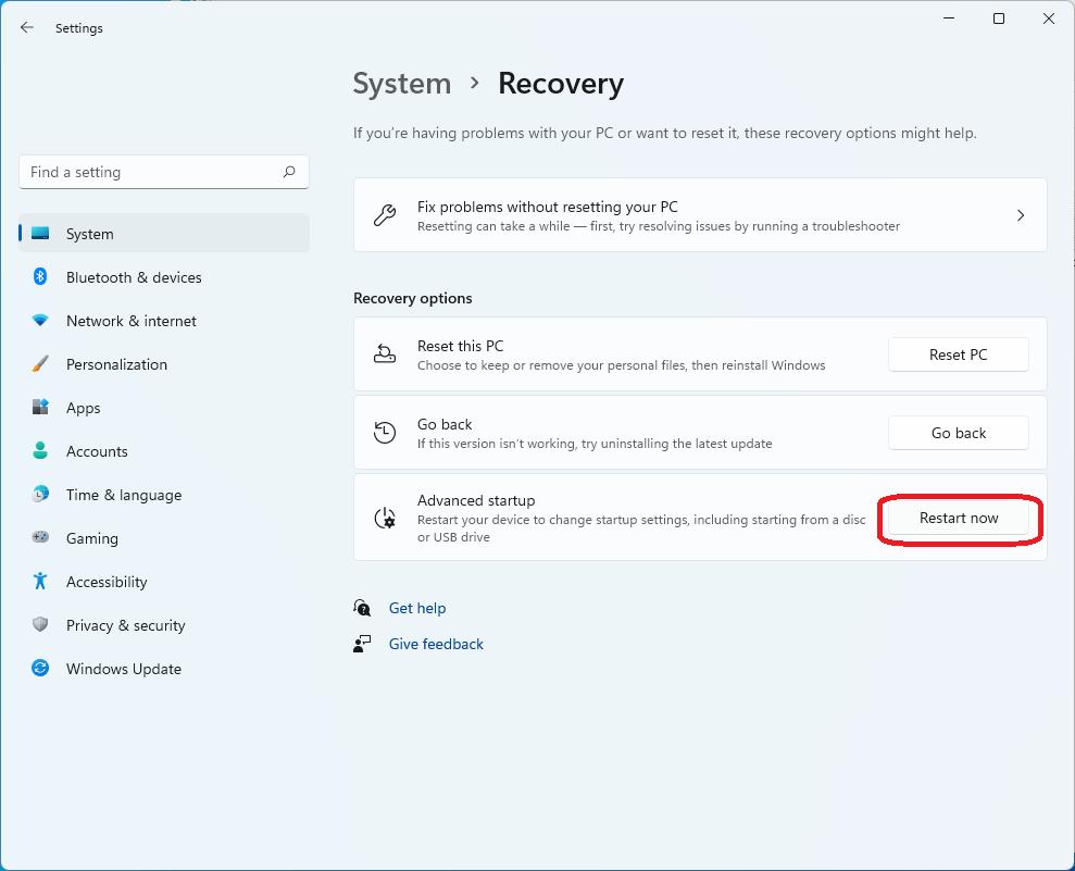 Windows 11 options -> Advanced Startup.