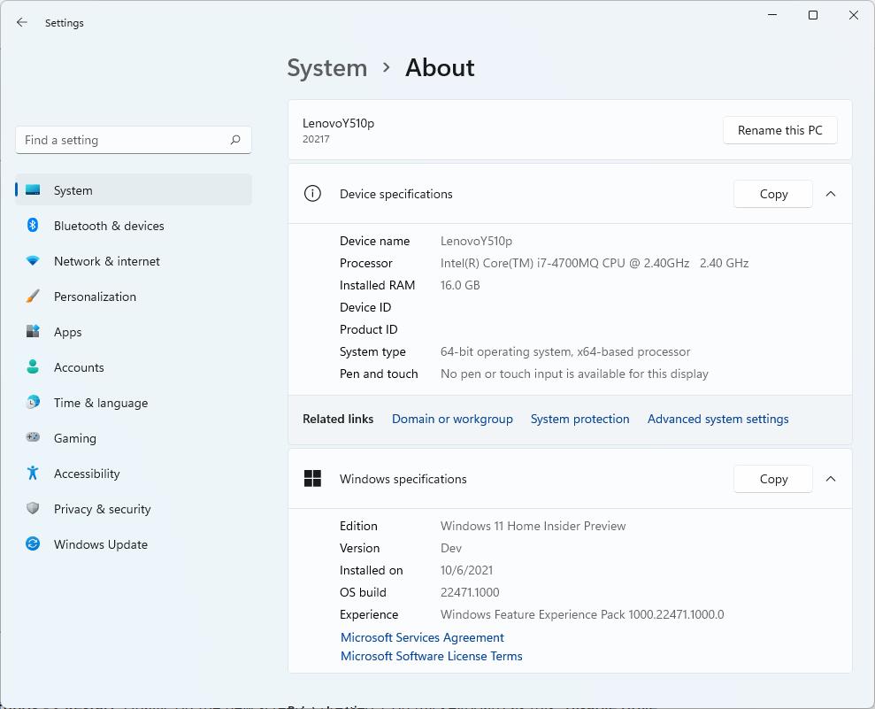 Windows 11 Insider Preview build 22471 on an Intel i7-4700MQ CPU.